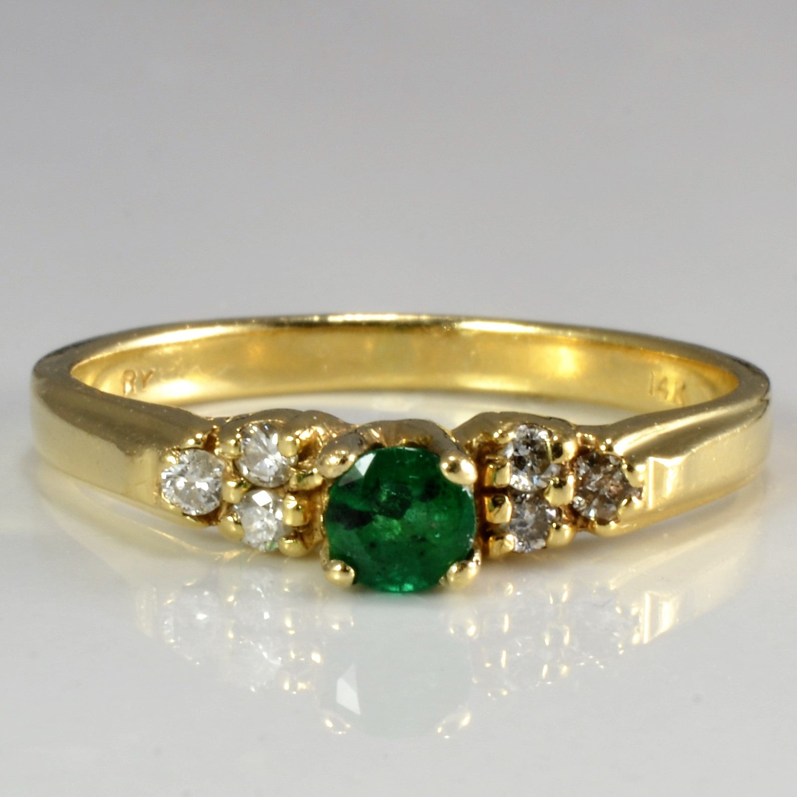 Solitaire Emerald & Accents Diamond Ring | 0.09 ctw, SZ 6.5 |