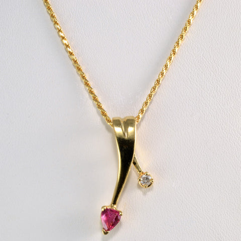 Beautiful Ruby & Diamond Pendant Necklace | 20''|