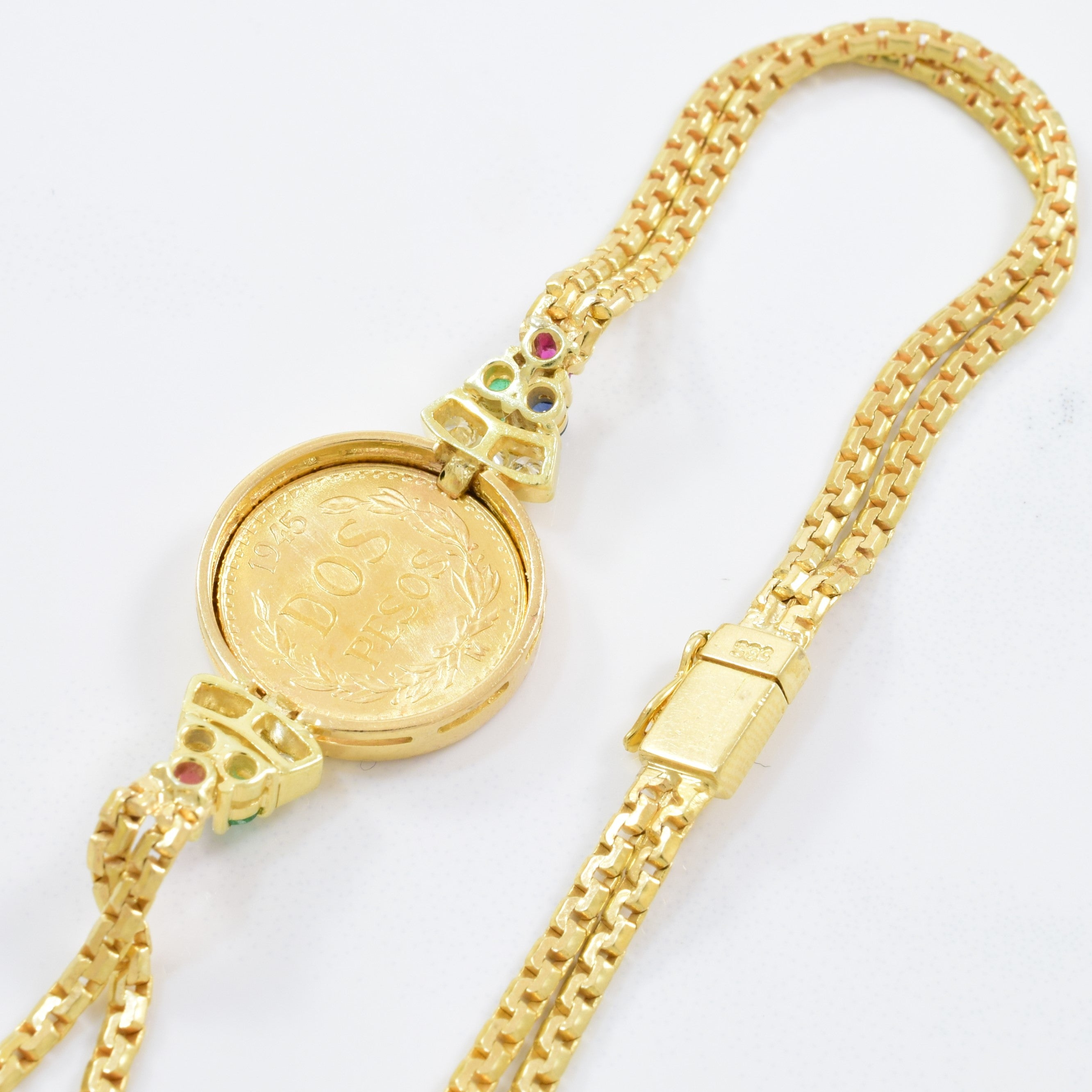 Two Peso Gold Coin Bracelet | 0.12ctw, 0.22ctw | 7"