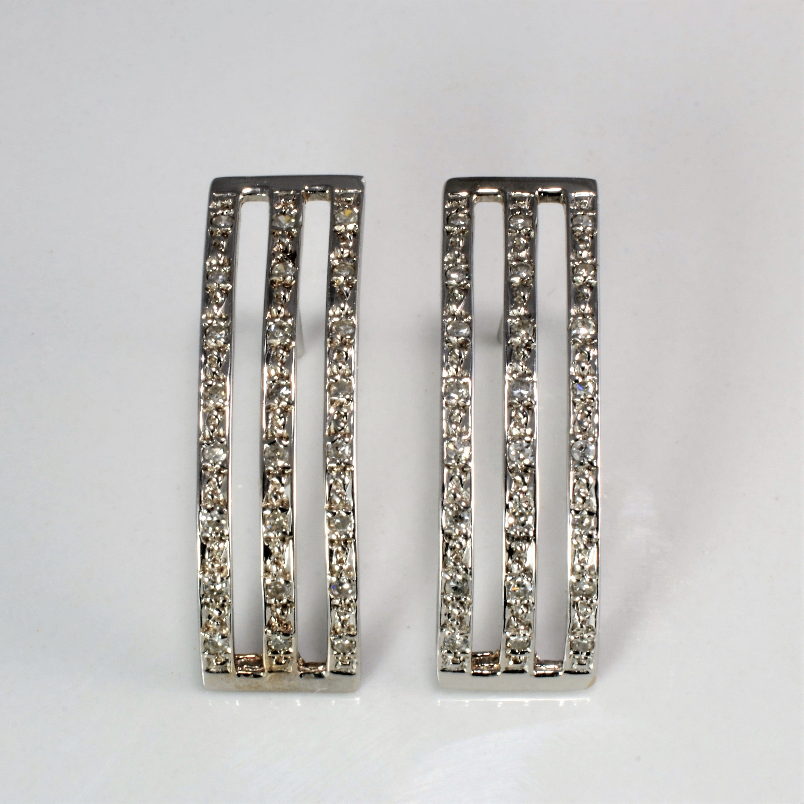 Pave Diamond Triple Row Dangle Earrings | 0.12 ctw |