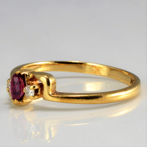 Three Stone Ruby & Diamond Ring | 0.04 ctw, SZ 6.25 |