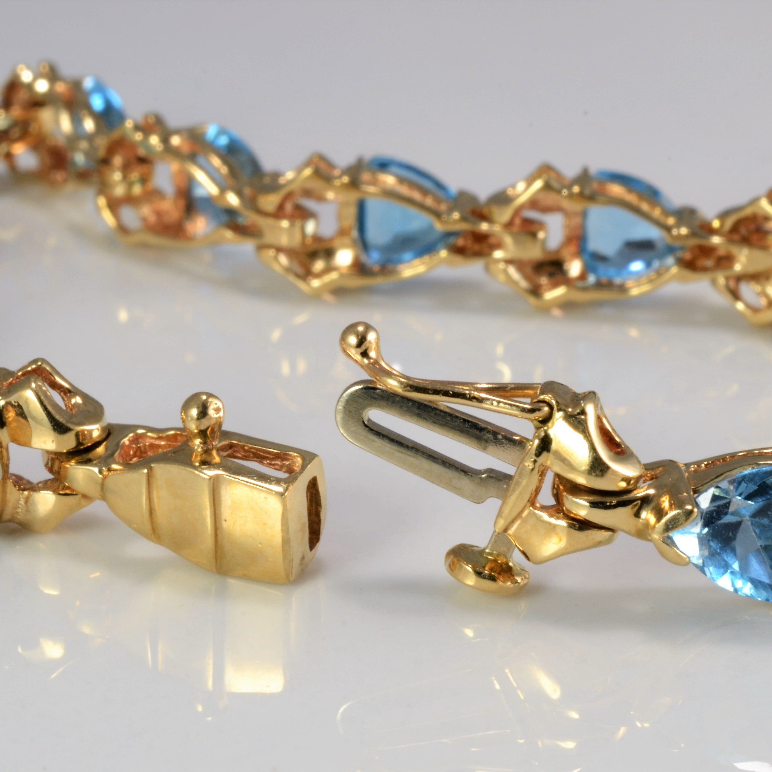 Triangular Topaz Gold Chain Bracelet | 7''|
