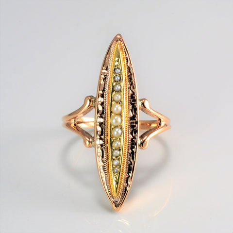 BIRKS Seed Pearl Marquise Shape Ladies Ring | SZ 8.75 |