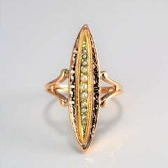 Early 1900's BIRKS Seed Pearl Navette Ring | SZ 8.75 |