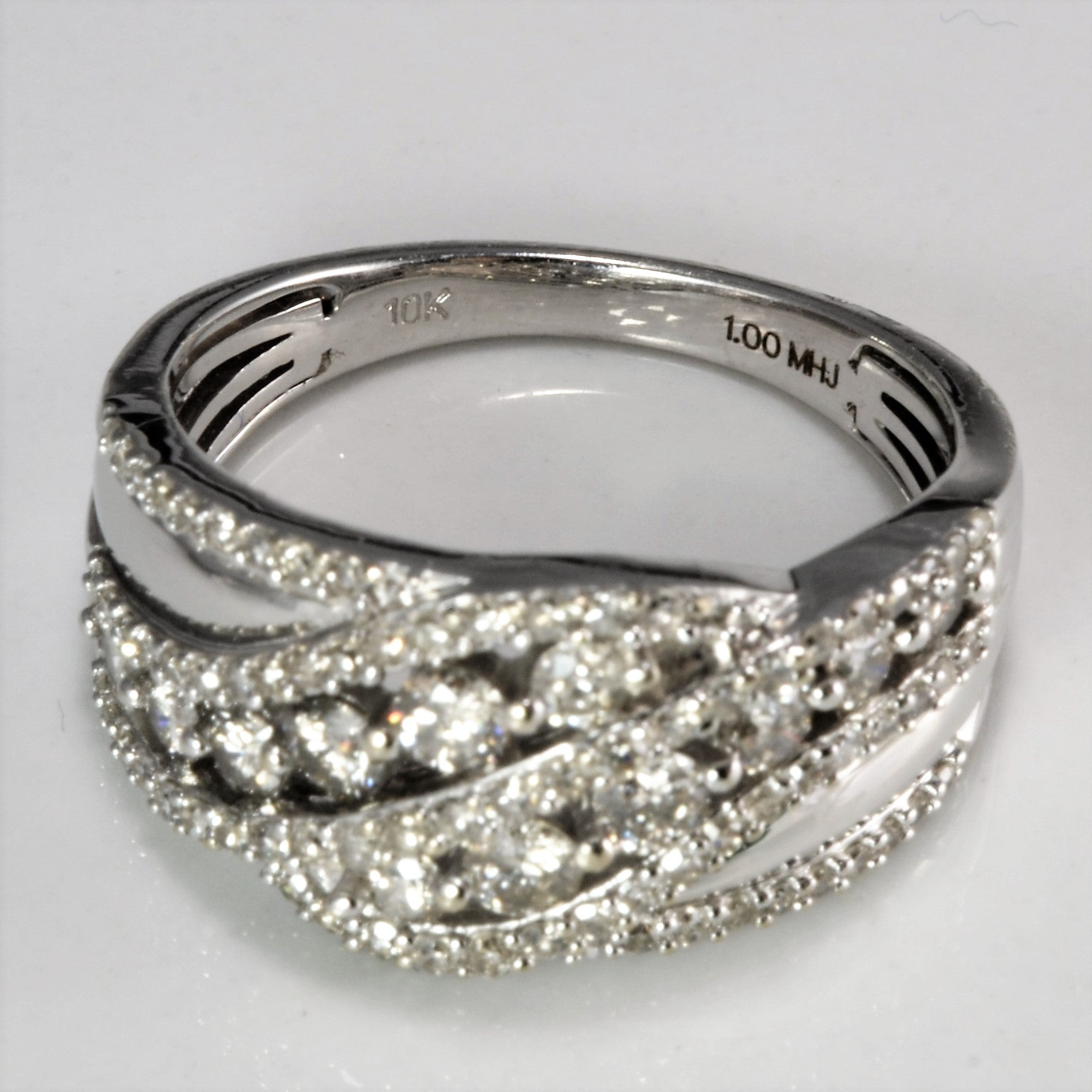 Pave & Channel Set Diamond Wide Band | 1.00 ctw, SZ 7.5 |