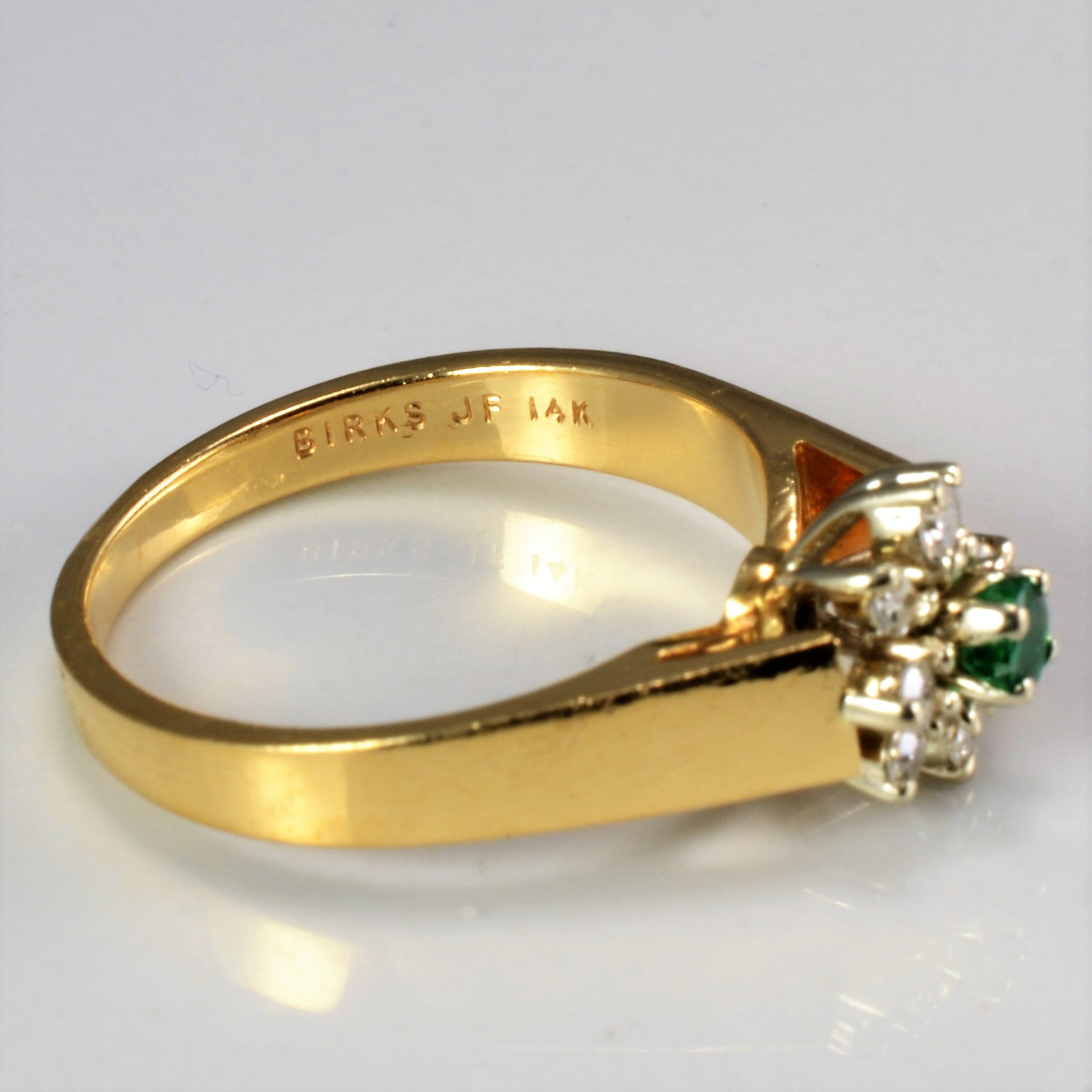 BIRKS Emerald & Diamond Ladies Cocktail Ring | 0.12 ctw, SZ 6.25 |