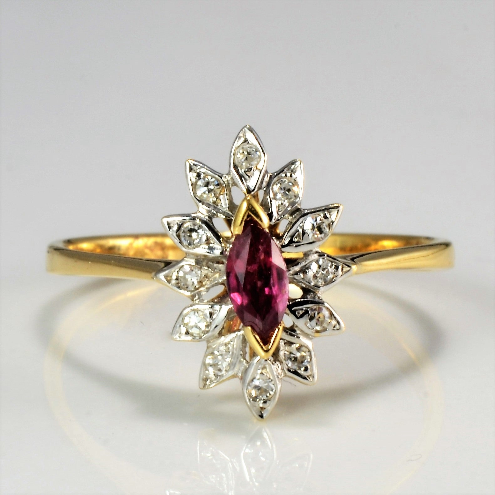 Ruby & Diamond Ladies Cocktail Ring | 0.10 ctw, SZ 6.25 |