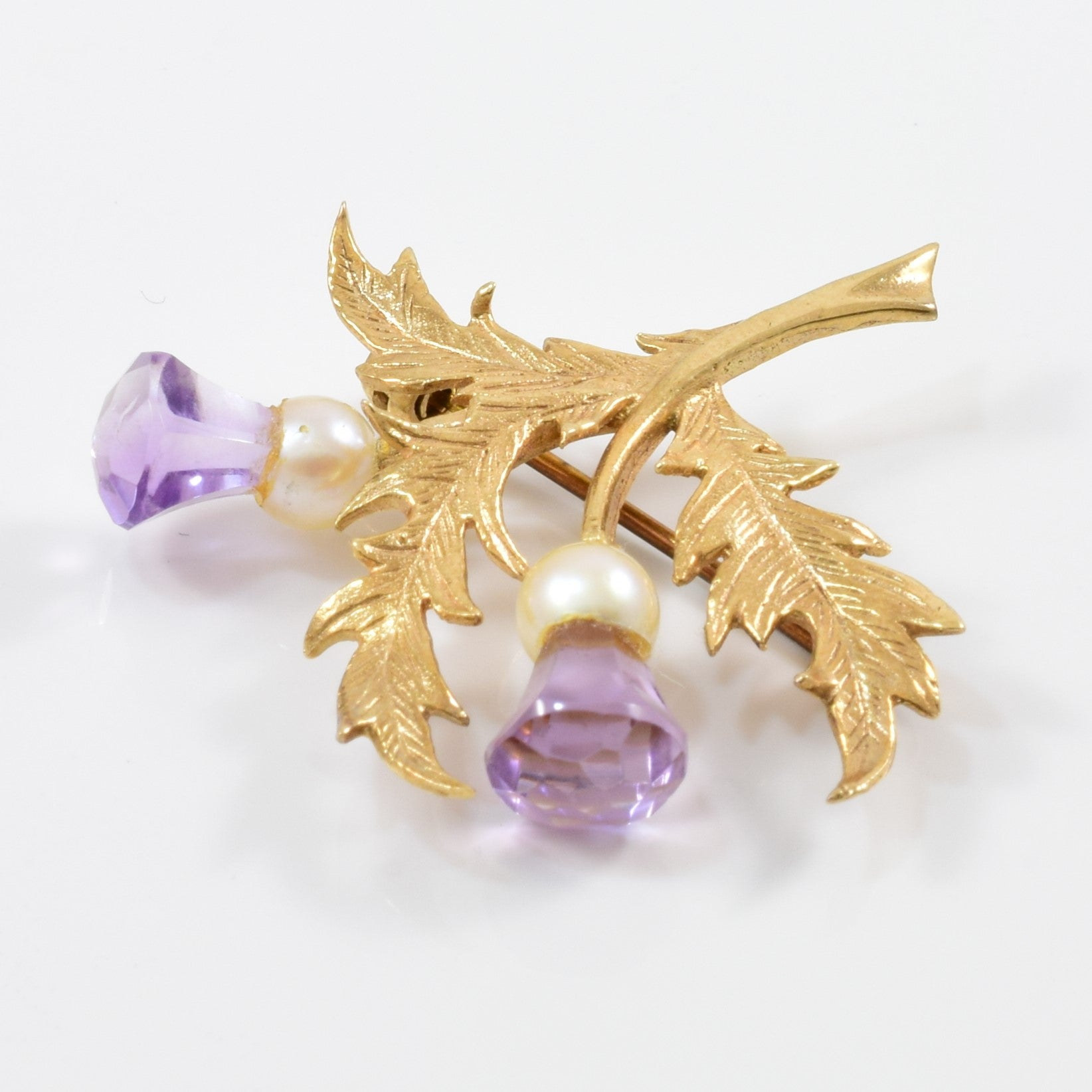 Vintage Amethyst and Pearl Branch Brooch
