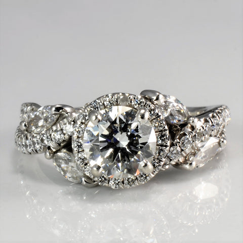 Halo Style Pave Diamond Engagement Ring | 1.76 ctw, SZ 5 |