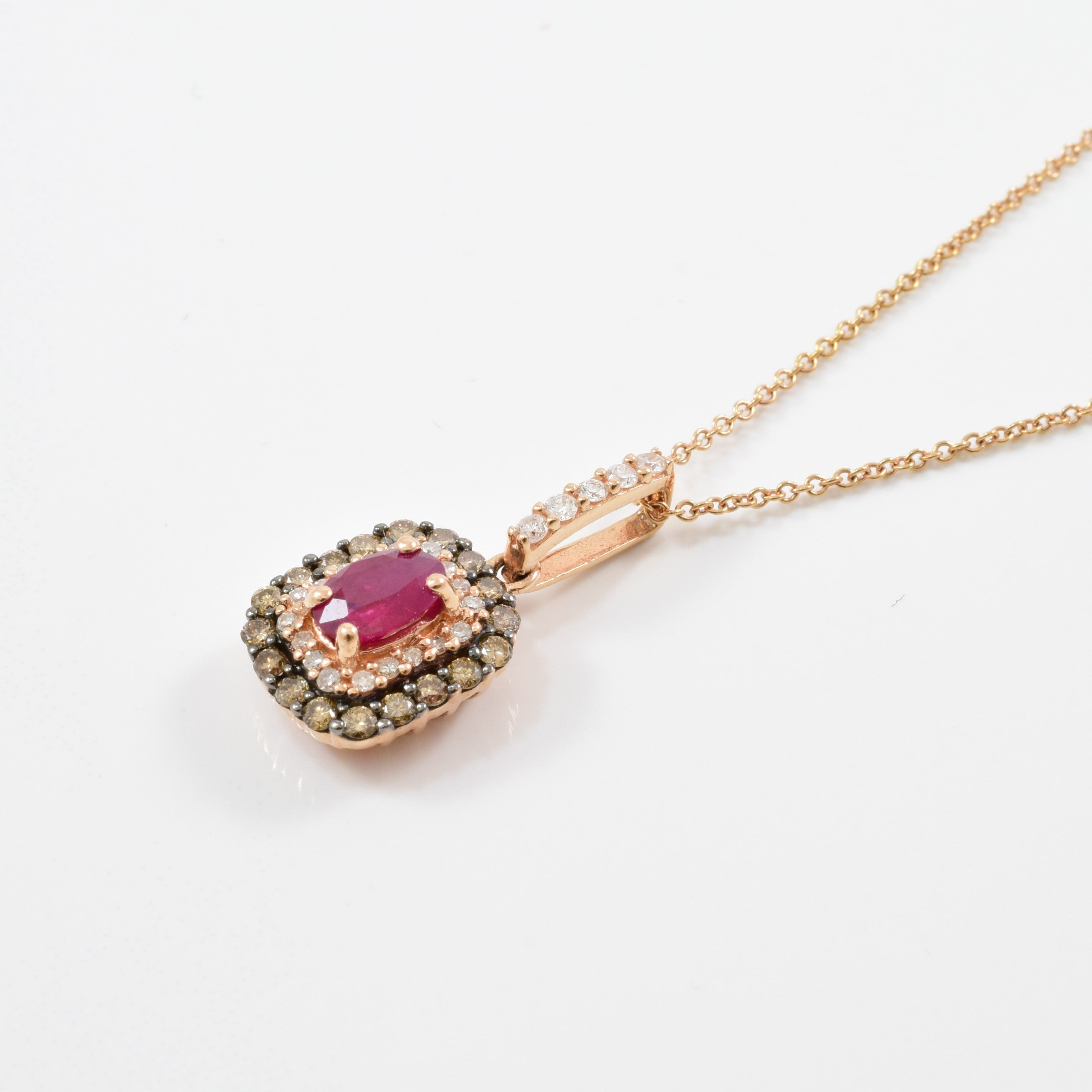 'Effy' Ruby & Champagne Diamond Necklace | 0.25ctw, 0.45ct | 18"