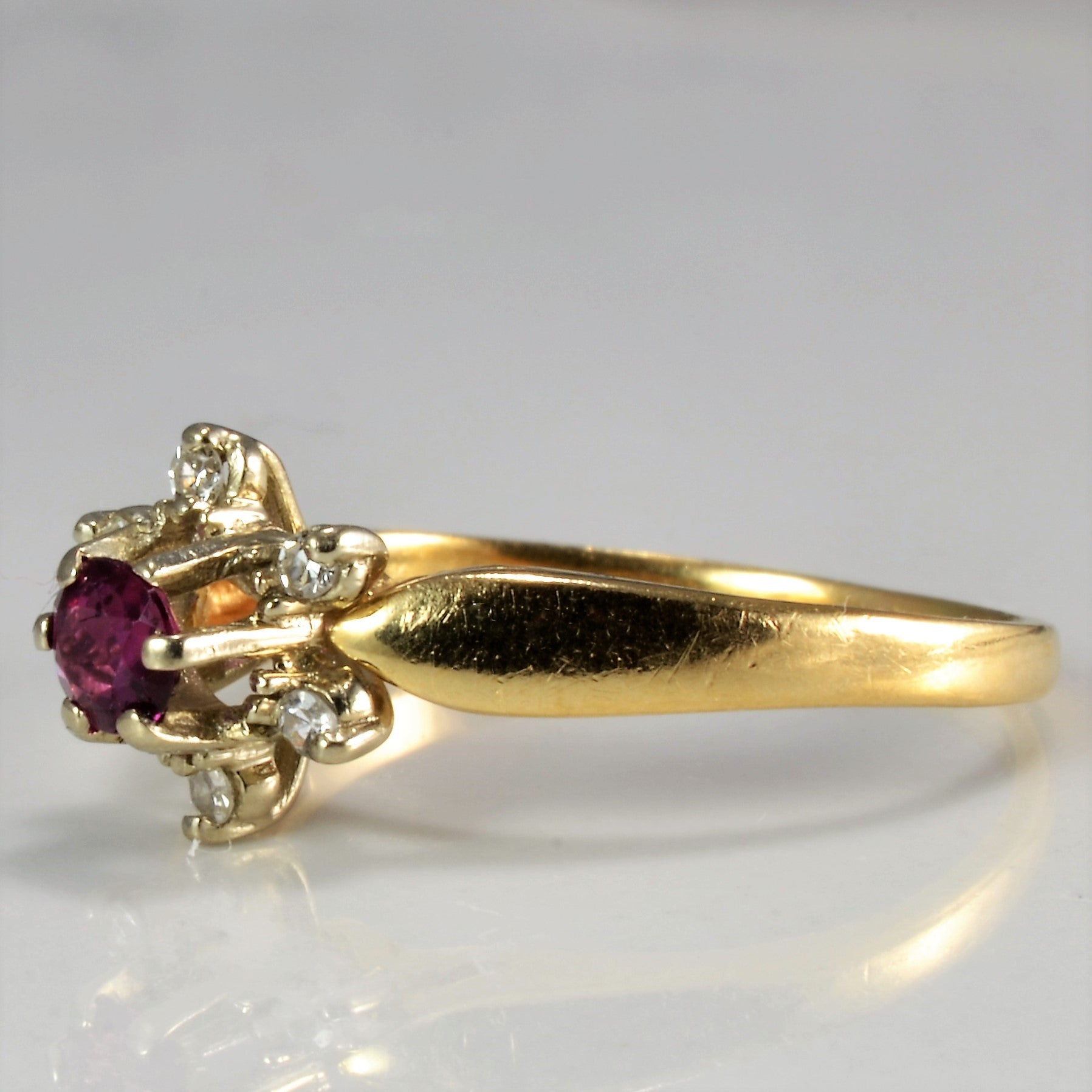 Cocktail Ruby & Diamond Ring | 0.06 ctw, SZ 6 |