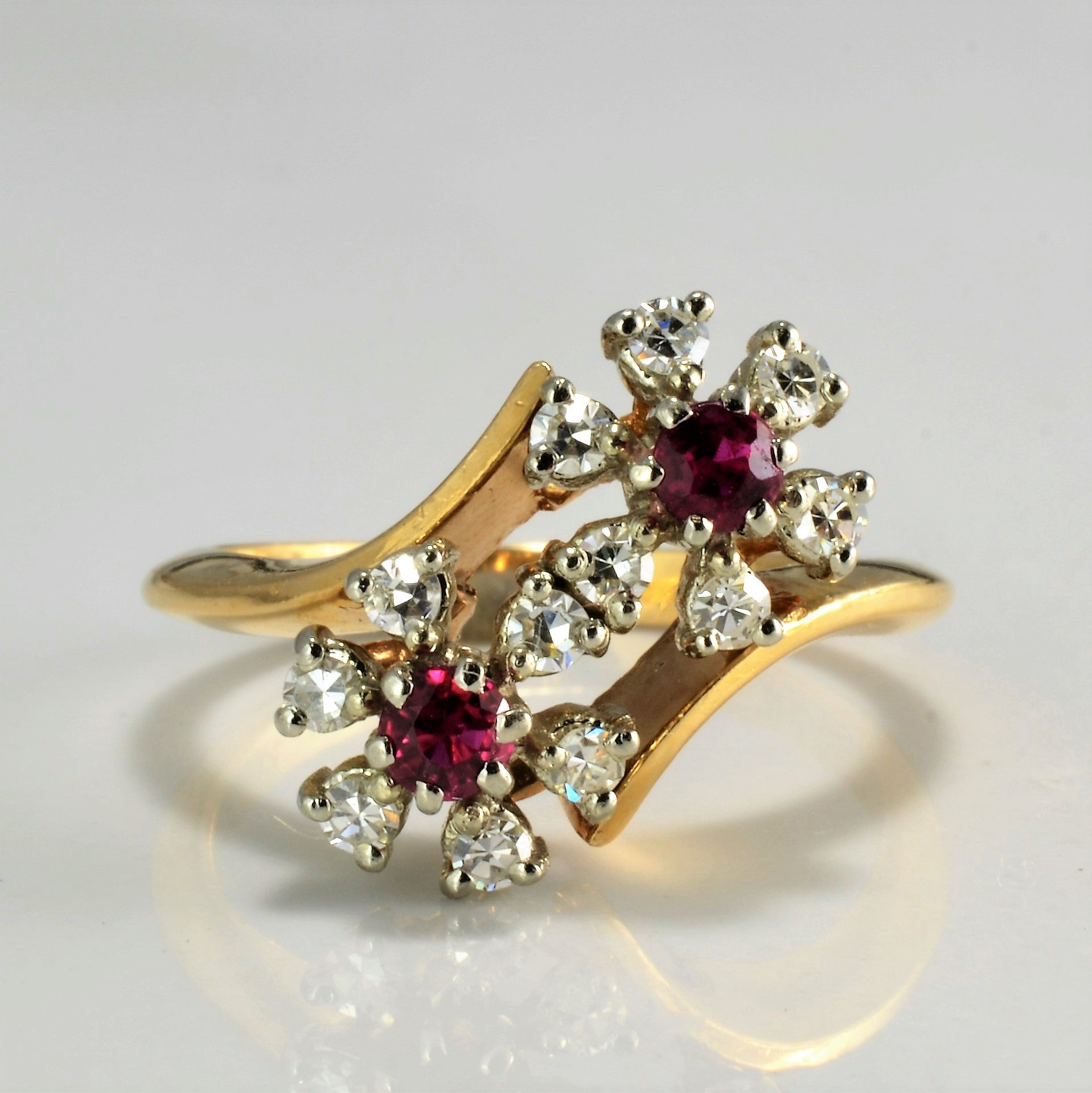 Flower Design Diamond & Ruby Bypass Ring | 0.24 ctw, SZ 6 |