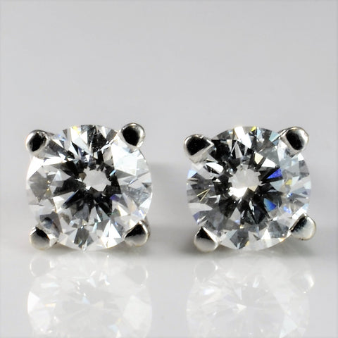 GIA Four Prong Solitaire Stud Earrings | 1.12 ctw |