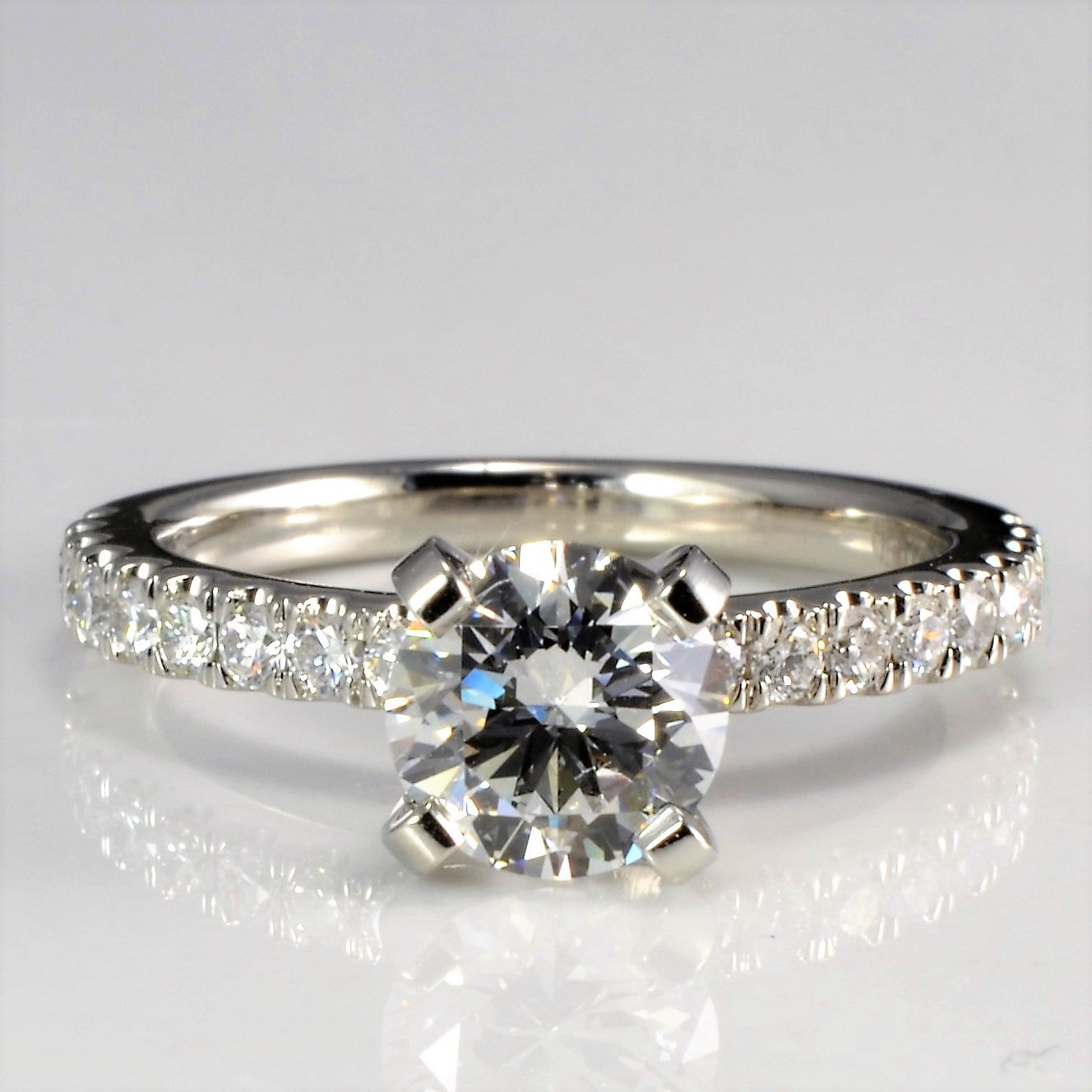 Solitaire with Pave Accents Diamond Engagement Ring | 0.94 ctw, SZ 3.5 |