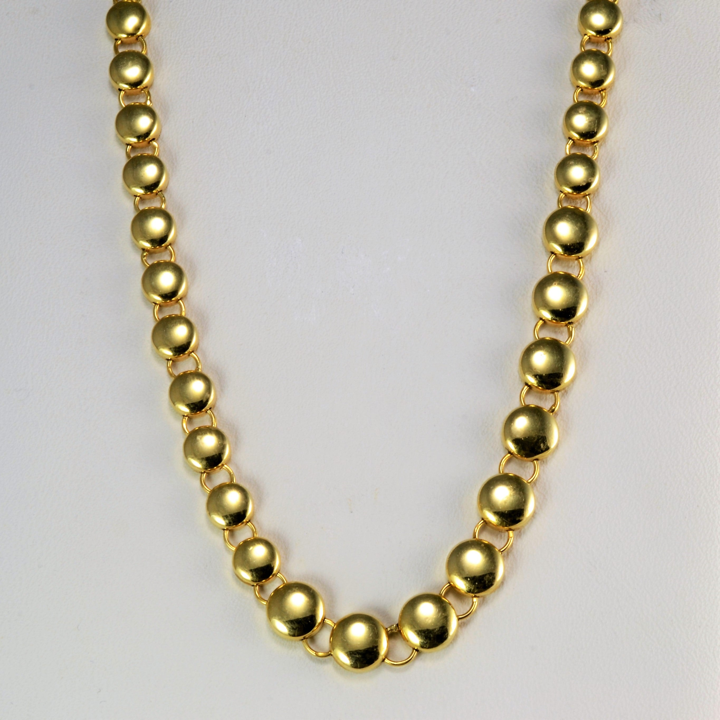 Textured Beaded Link Chain Necklace | 16''|