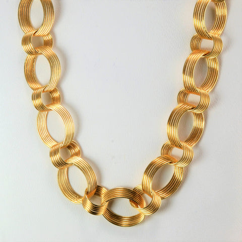 Textured Multi Link Rolo Chain Necklace | 18''|