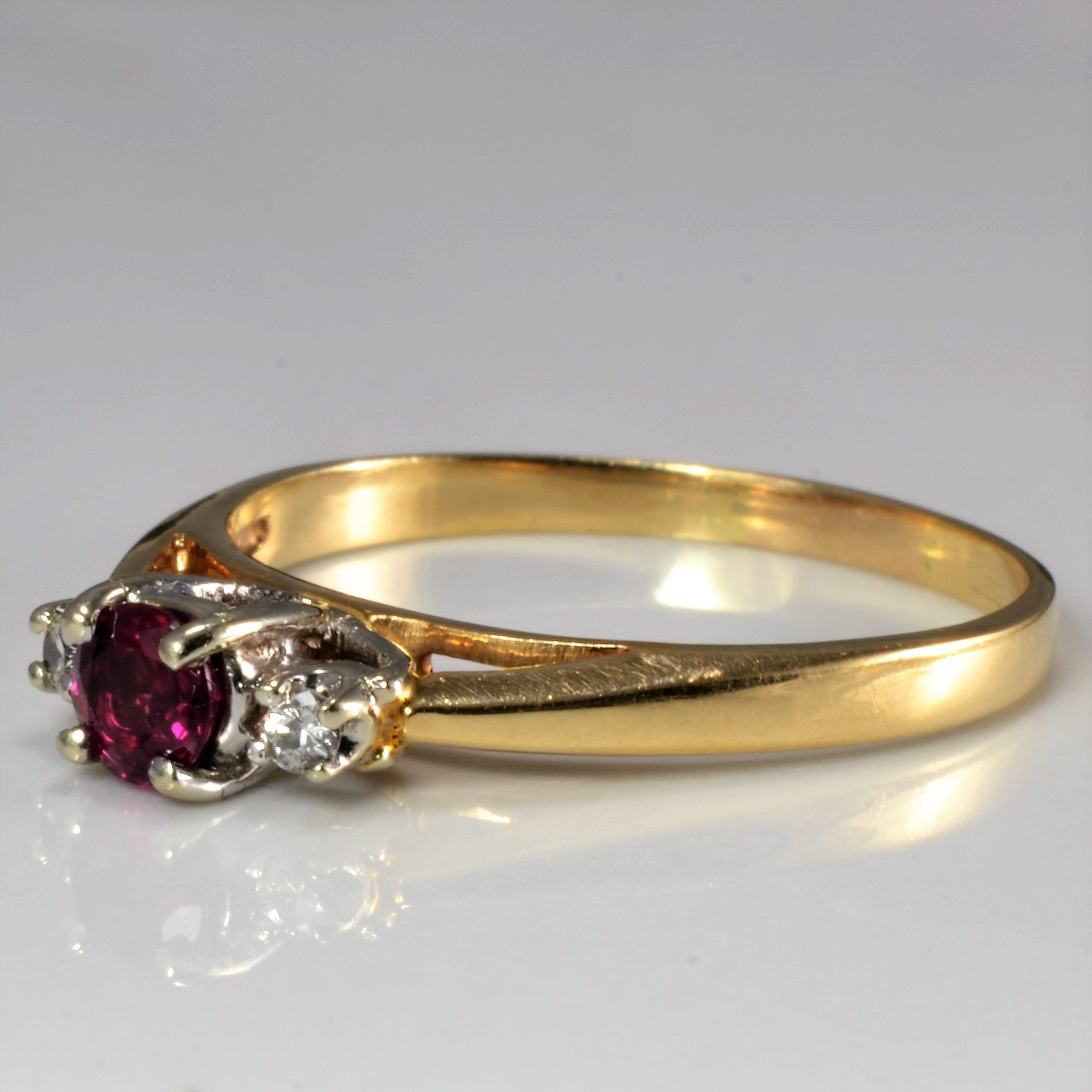 Three Stone Ruby & Diamond Ring | 0.04 ctw, SZ 7.5 |