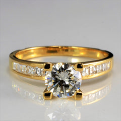 Four Prong Diamond with Accents Engagement Ring | 1.30 ctw, SZ 6.25 |