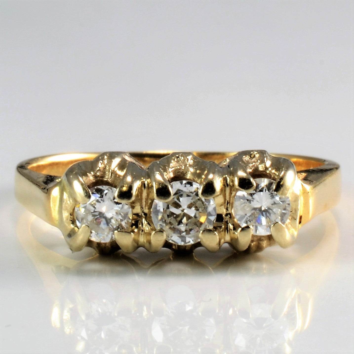 rings cut bridal diamond image ring three stone brilliant gold yellow