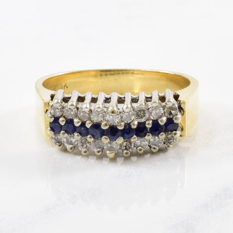 Three Row Sapphire & Diamond Ring | 0.25ctw, 0.15ctw | SZ 6 |