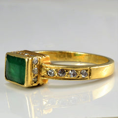 Bezel Set Emerald & Diamond Ring | 0.15 ctw, SZ 5.5 |