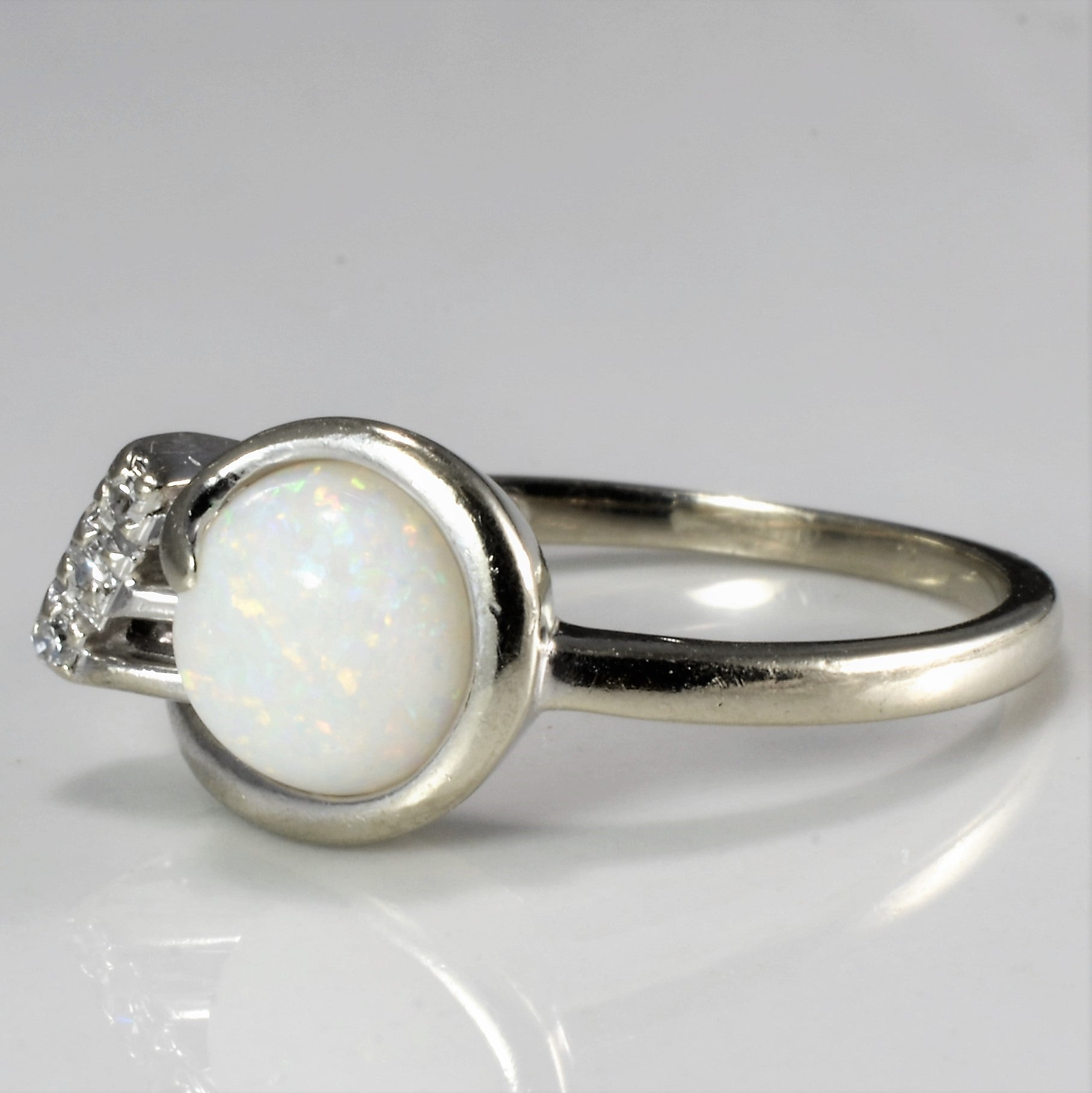 Bypass Opal & Diamond Ring | 0.03 ctw, SZ 7 |