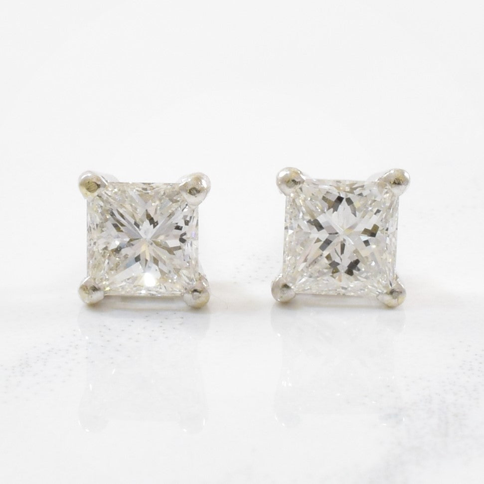 Princess Cut Diamond Stud Earrings | 0.75ctw |