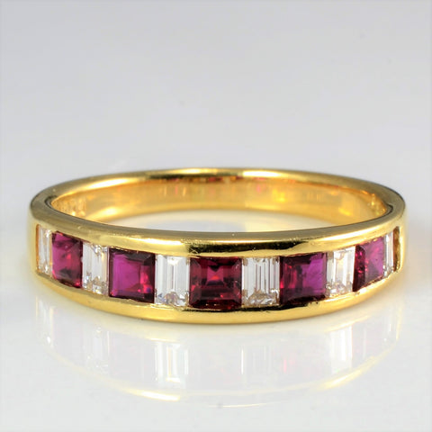 Channel Set Diamond & Ruby Band | 0.31 ctw, SZ 5.5 |