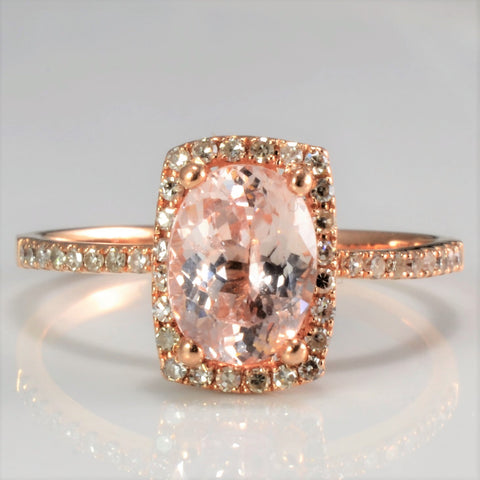 Rose Gold Peach Sapphire & Diamond Halo Engagement Ring | 0.15 ctw, SZ 7 |