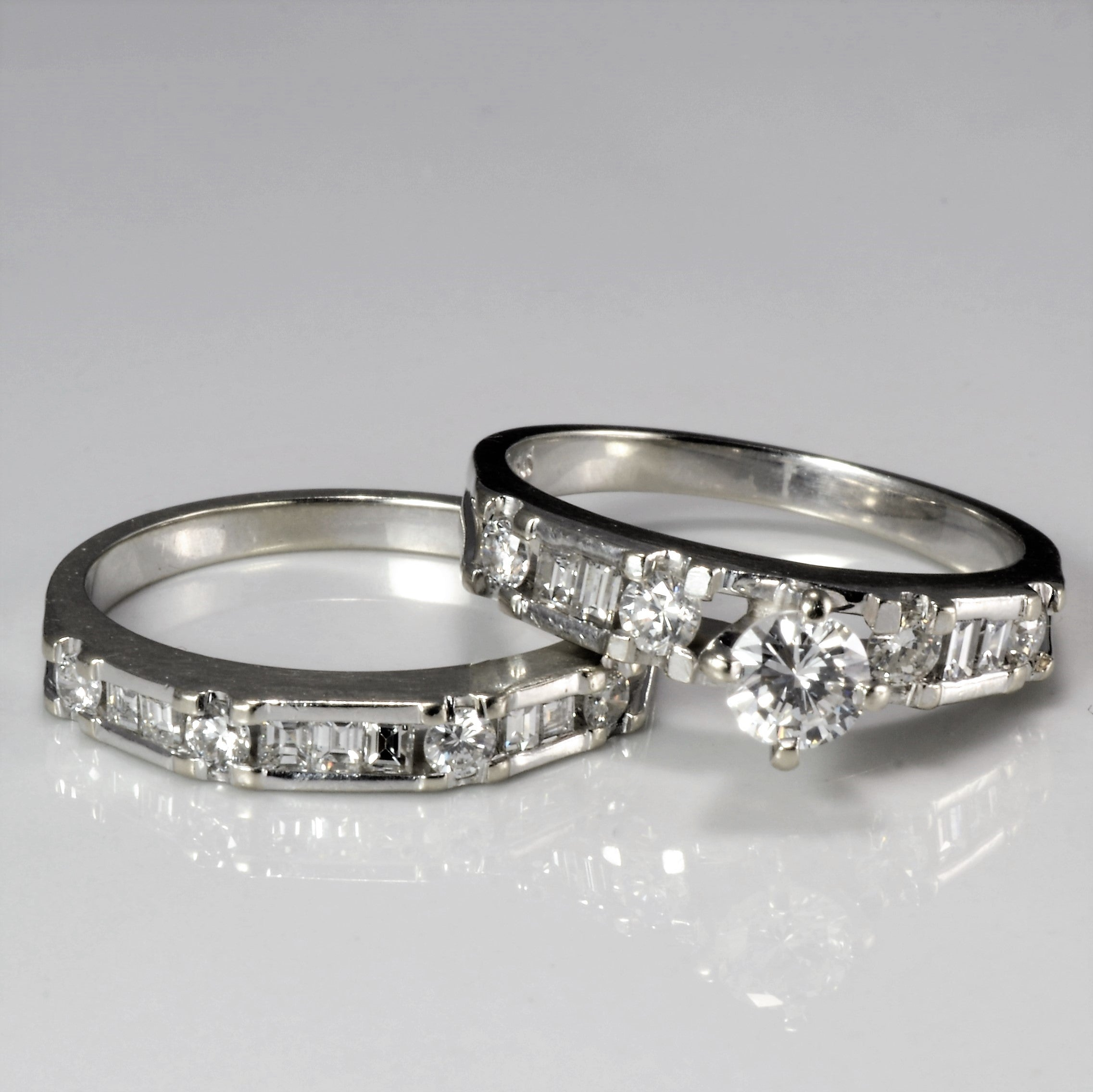 Multi Diamond Engagement Ring Set | 0.87 ctw, SZ 6 |