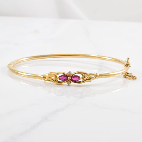 Ruby & Diamond Bangle | 0.02ctw, 0.30ctw | 7.5"