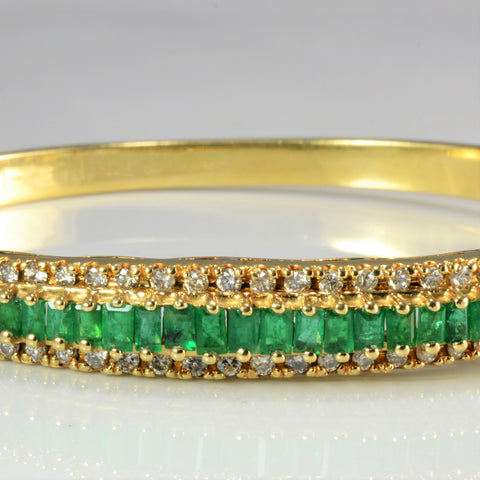 Pave Set Emerald & Diamond Bangle Bracelet | 0.62 ctw 7.5'' |
