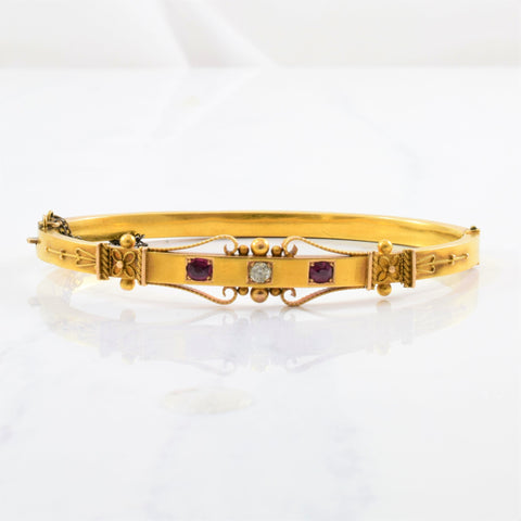 Victorian Era Diamond & Ruby Bangle | 0.10ct, 0.20ctw | 7.5"