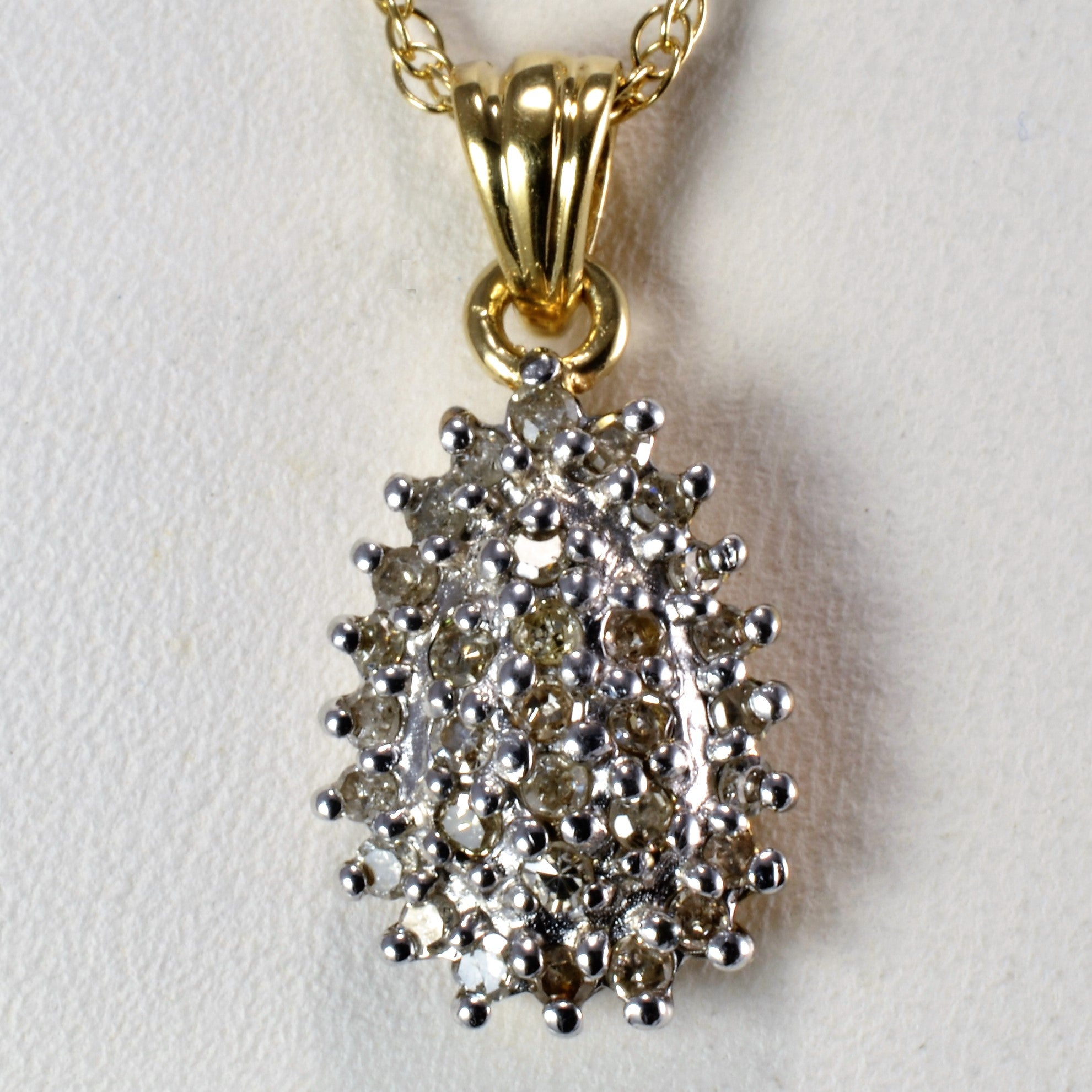 Tear Drop Design Cluster Diamond Pendant Necklace | 0.16 ctw, 20''|