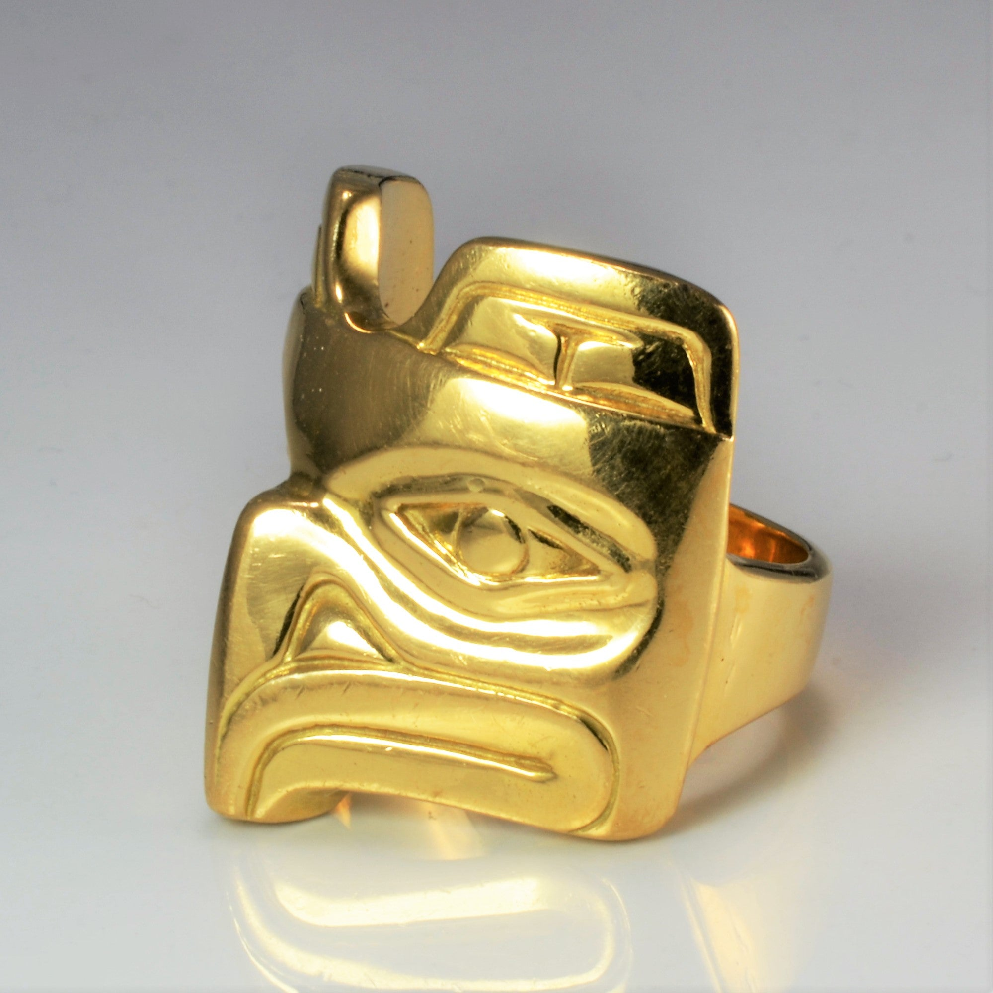 Native Eagle Design Heavy Gold Ring | SZ 11 |