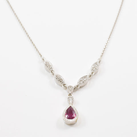 Pear Cut Ruby Diamond Drop Necklace | 0.12ctw, 0.33ct | 16"