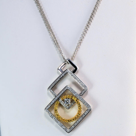 Textured Pave Diamond & Sapphire Pendant Necklace | 0.35 ctw, 18''|