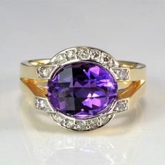 Halo Style Split Shank Amethyst & Diamond Ring | 0.10 ctw, SZ 6.25 |