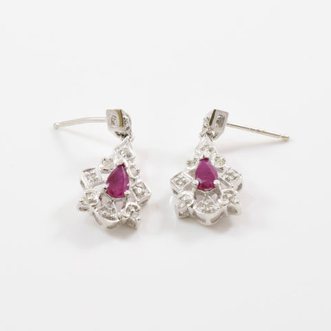 Pear Cut Ruby & Diamond Drop Earrings | 0.10ctw, 0.30ctw |