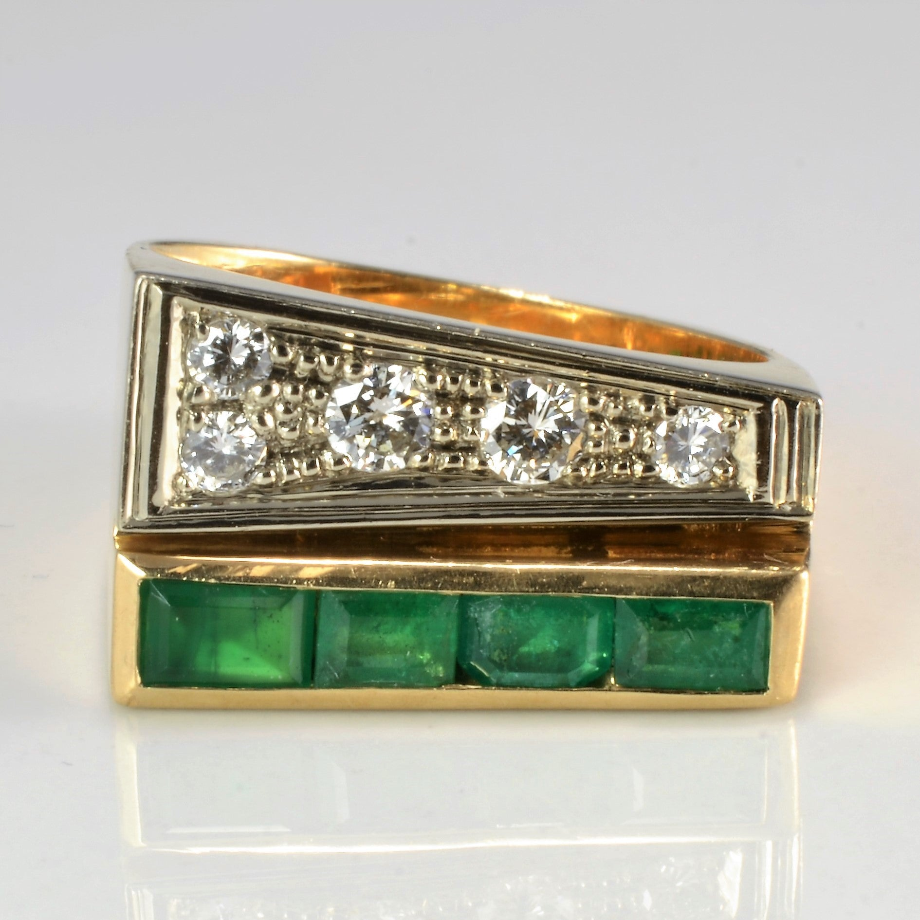 Offset Diamond & Emerald Heavy Ring | 0.25 ctw, SZ 7.5 |