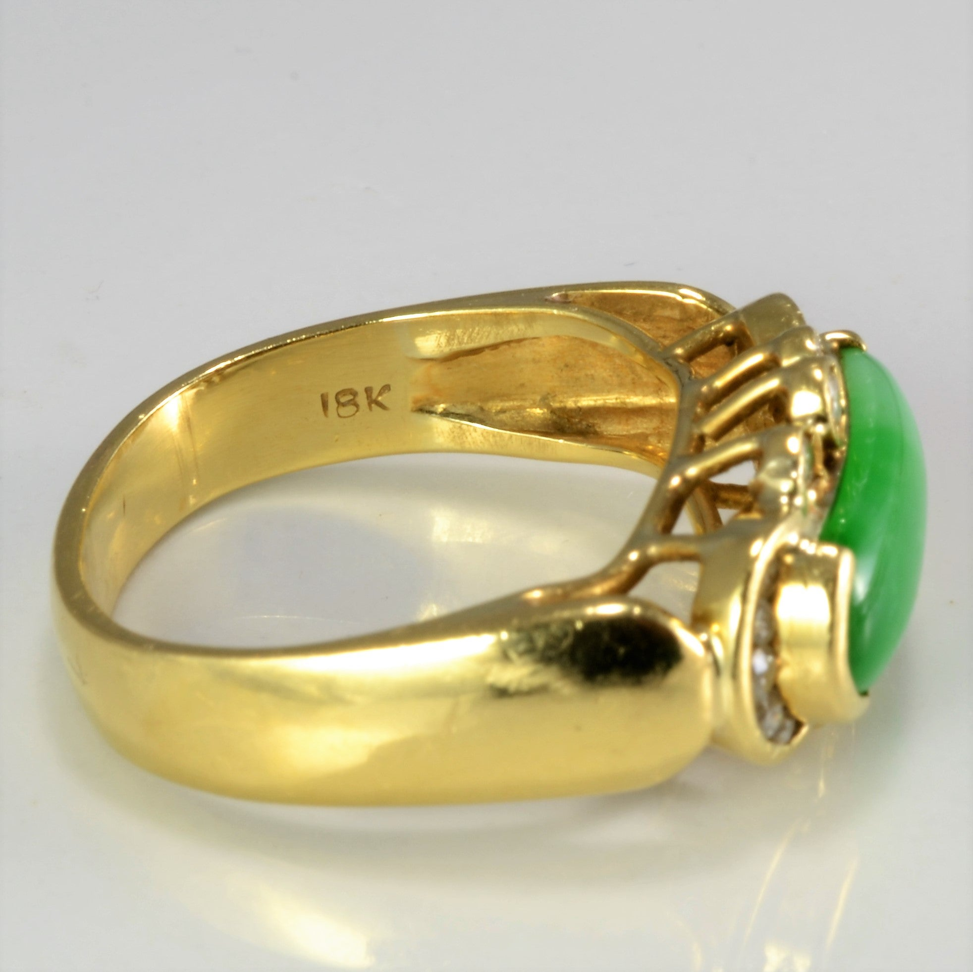 Jadeite & Accents Diamond Ladies Ring | 0.18 ctw, SZ 7.25 |