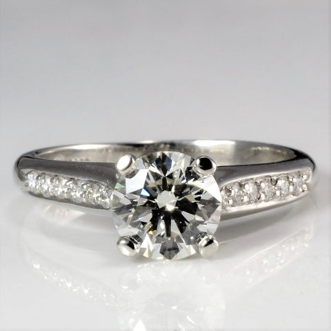 High Set Diamond with Channel Accents Engagement Ring | 1.33 ctw, SZ 7.25 |
