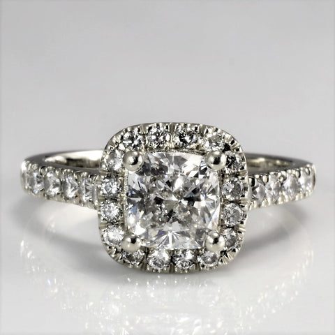 Cushion Cut Diamond Halo Engagement Ring | 1.30 ctw | VS2, E | SZ 4.75 |