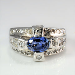Sapphire & Diamond Wide Ladies Ring | 0.42 ctw, SZ 4.75 |
