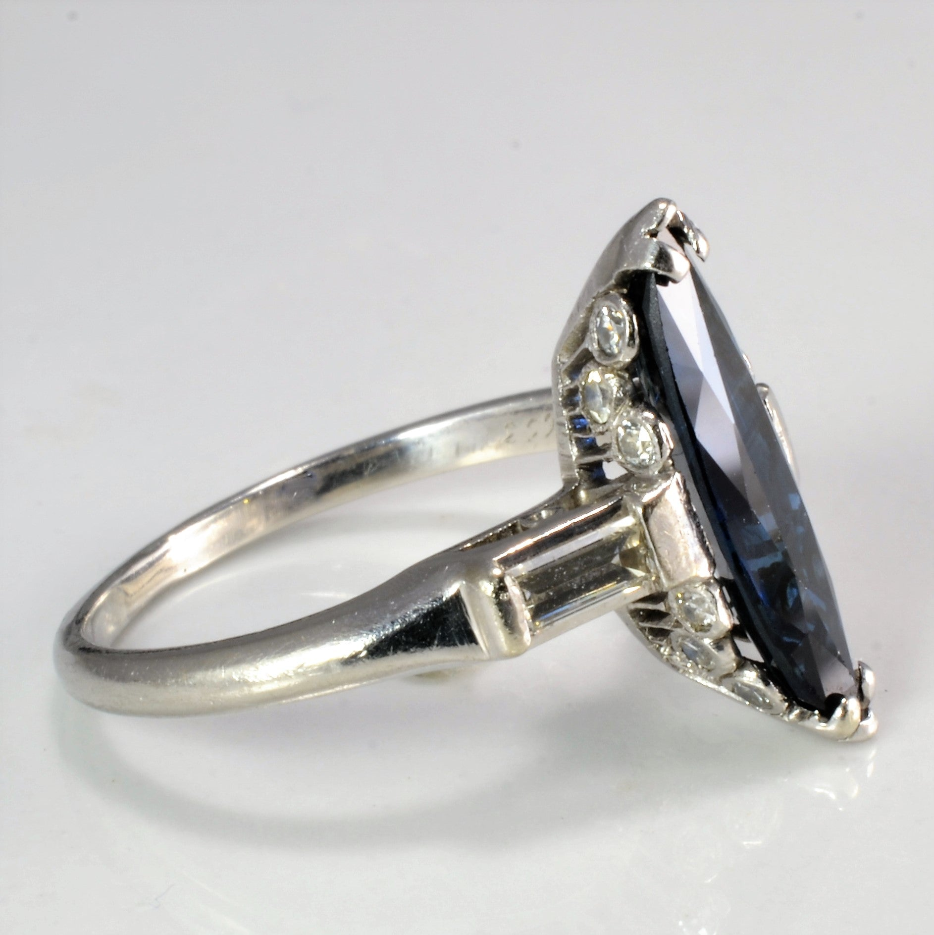 Marquise Sapphire & Diamond Engagement Ring | 0.26 ctw, SZ 4.75 |