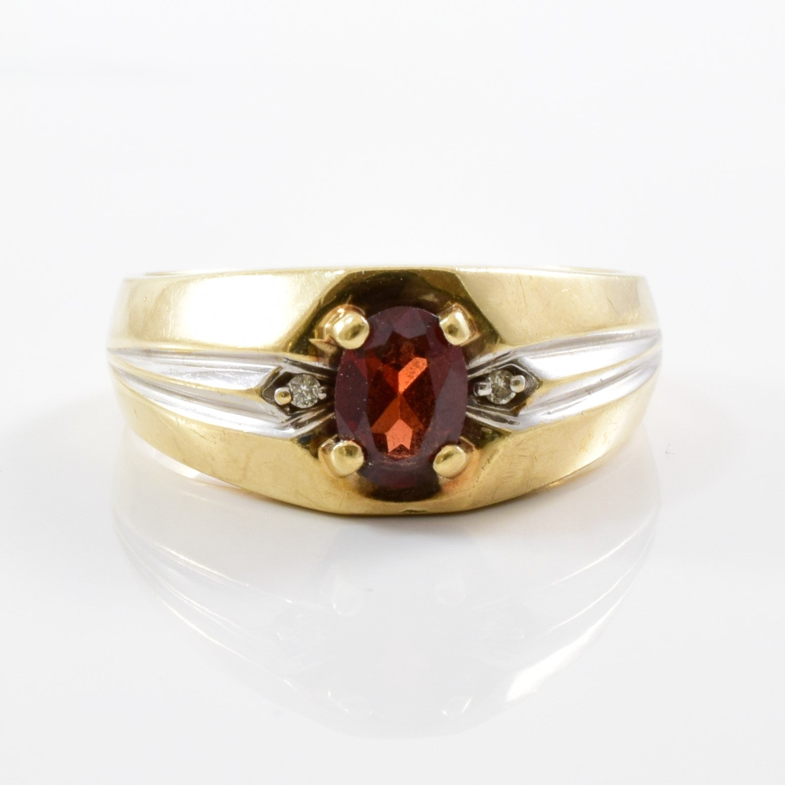 Oval Garnet Wide Band Ring  | 0.02ctw, 0.60ct | SZ 10.25 |