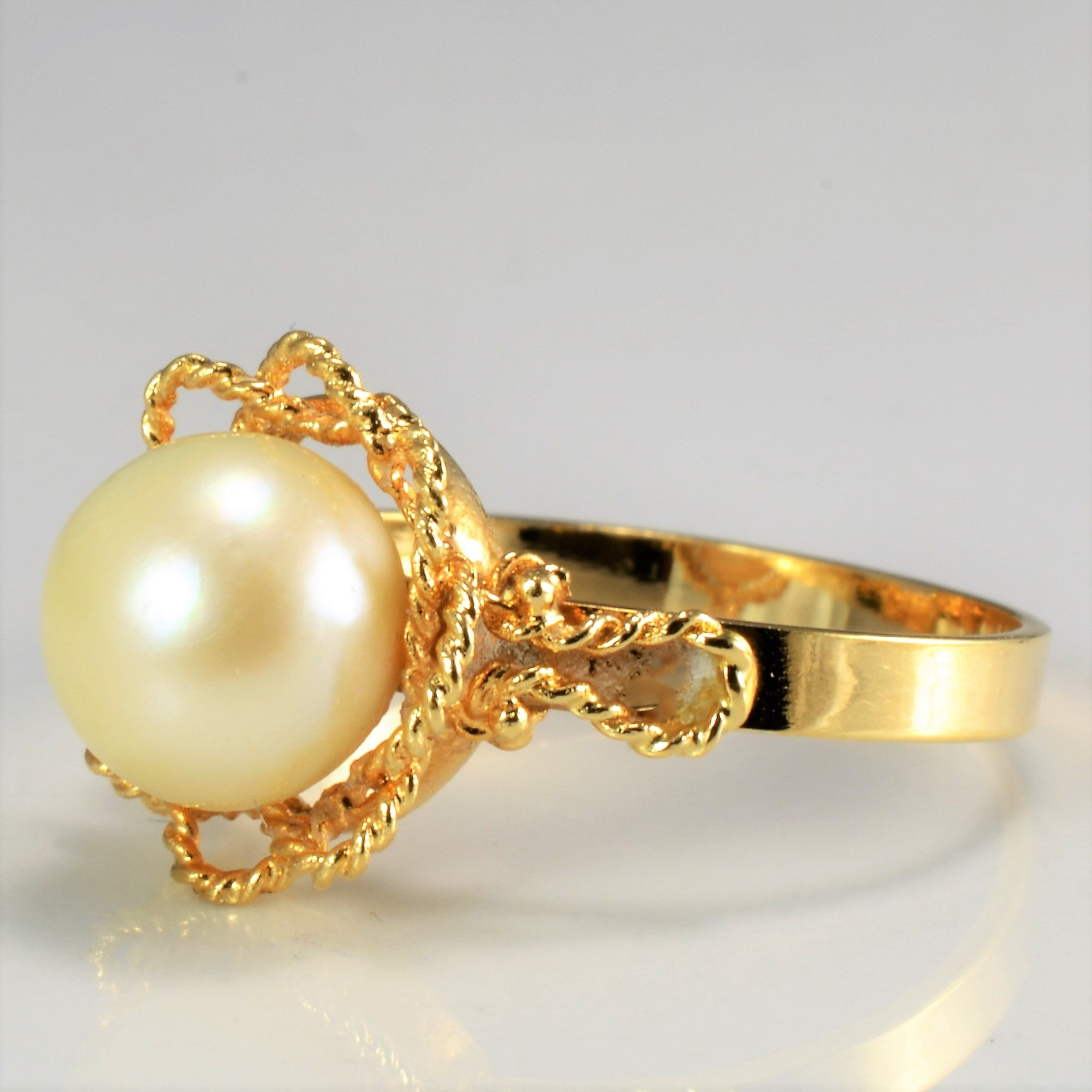 3c1fc1e186987 Detailed Edge Solitaire Pearl Ring   SZ 7.5