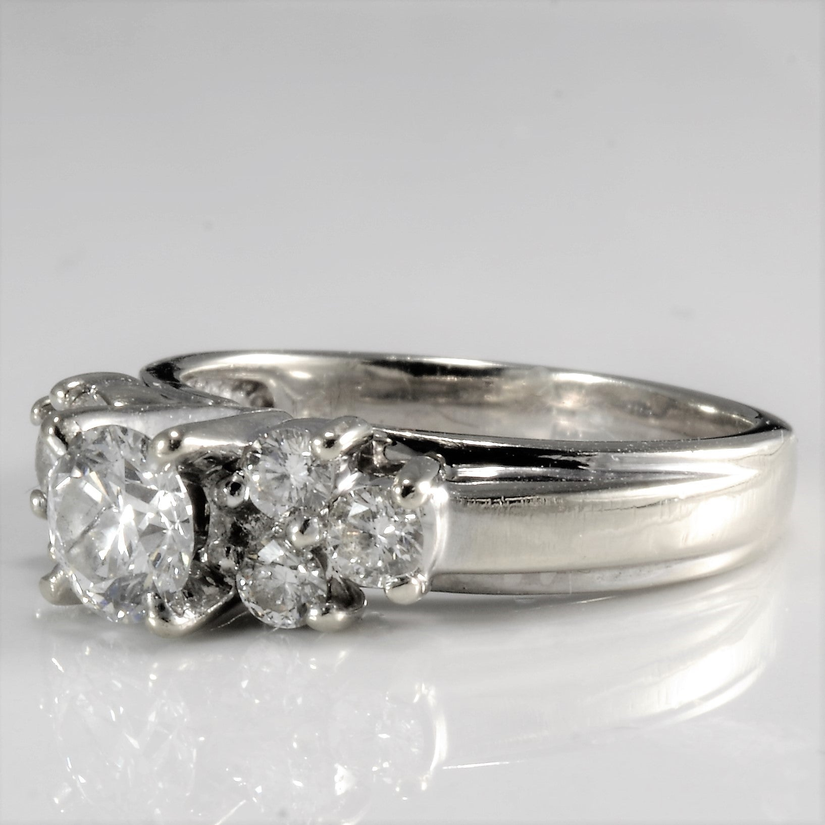 High Set Cluster Diamond Engagement Ring | 0.91 ctw, SZ 5.75 |