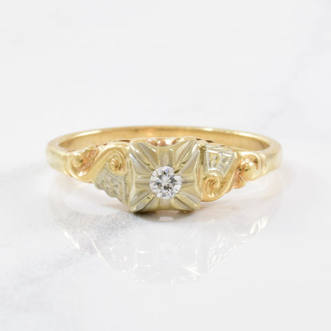 1930s Illusion Set Diamond Ring | 0.05ctw | SZ 6.75 |