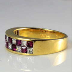 Grid Set Diamond & Ruby Band | 0.77 ctw, SZ 6.25 |